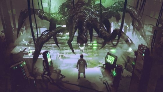 Man in lab stands before a monstrous looking creature with many legs