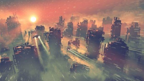 futuristic plane flying into the sunset over dusty orange city
