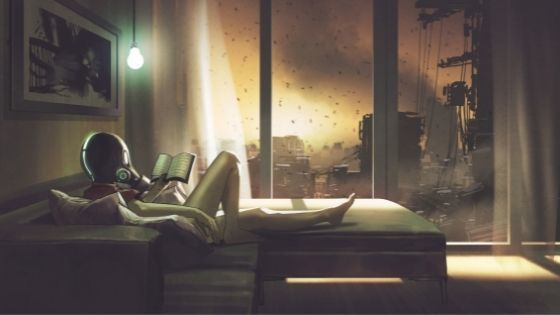 Woman reading a book on a couch with a gas mask on as black rain falls outside her window