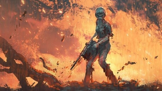Woman surrounded by fire holding a chainsaw in her hands