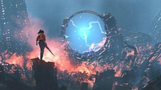 Woman with gun walking through orange fire toward a glowing blue portal