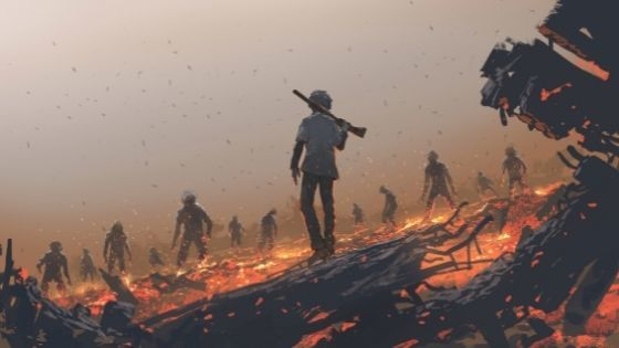 Man with a gun over his shoulder walking through firey coals toward scattered zombies