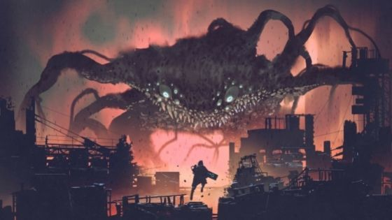 Giant monster with tons of eyes and tentacles floating over city while a small, lone figure rises to meet it with a canon blaster