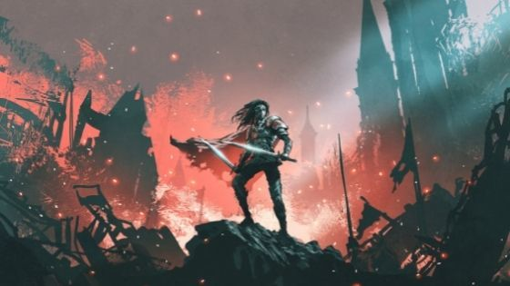 Woman stands in the darkness holding two swords as the city burns down around her