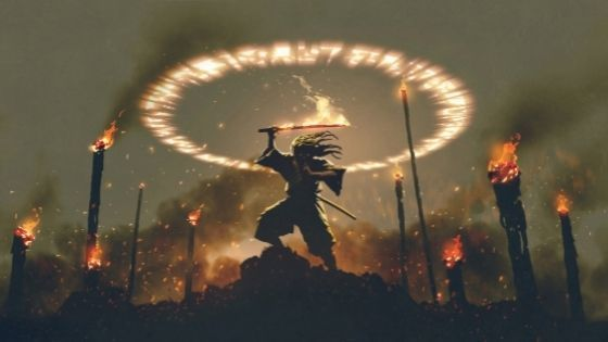 Man standing on a mound under a fiery circle and his sword on fire