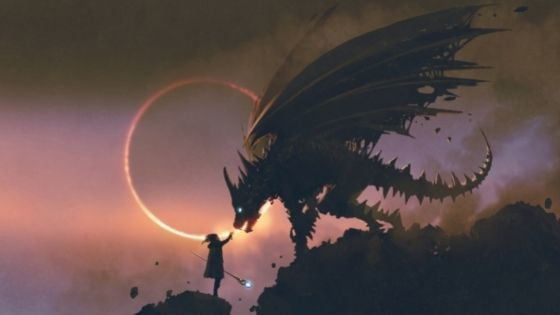 Dragon looking down at teen with a staff