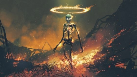 Skeleton Walking Out Of Flames