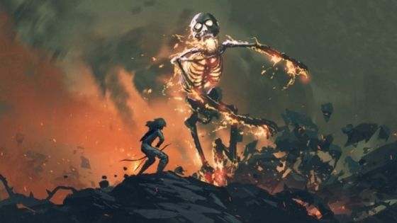 Skeleton charges out of flames at girl with bow and arrow
