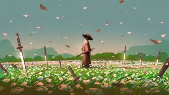 Japanese man in a flowery field with swords stabbed into the ground all around him