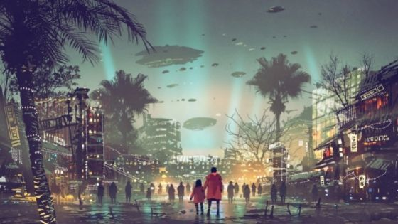 Small child holding a man's hand in the center of the city as UFO's fly over their heads