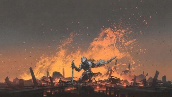 Knight Kneels In Fiery Cracks