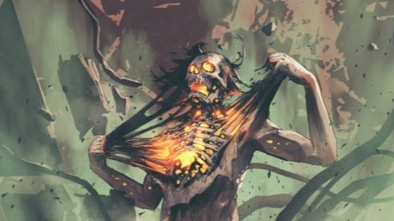 Skelton pulling his skin off his bones and you can see he is on fire inside