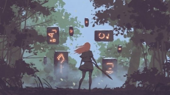 Girl with a sword standing in front of floating stones with glowing runes etched in them