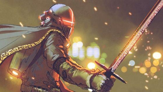 Knight with Fiery Orange Glow from eyes in helmet prepared for battle