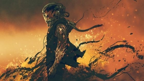 Astronaut Standing In Flames with His Suit Shredded From Blas