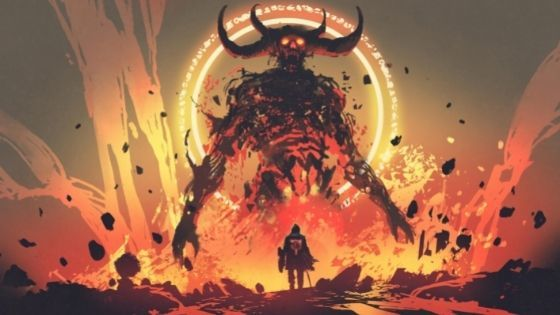 Man with sword and shield faces a lava giant with four horns coming out of lava and flames